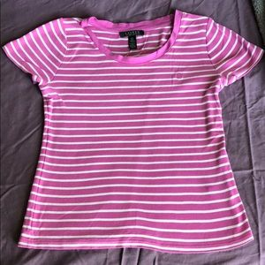 Ralph Lauren pink and white striped T-shirt